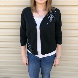 Black Cardigan with Silver Sequins Flowers